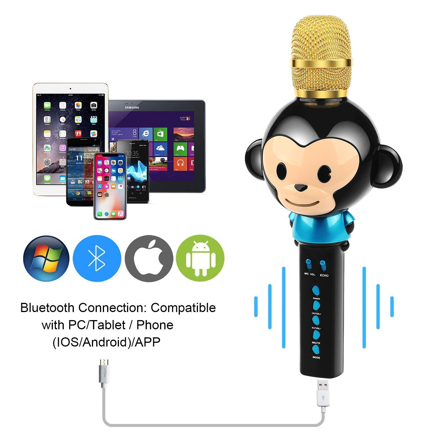 LingHui Kids Microphone Wireless Bluetooth Karaoke Microphone, 3-in-1 Portable Handheld Karaoke Mic Home Party Birthday Speaker Machine for iPhone/Android/iPad/Sony,PC and All Smartphone (Black) by LingHui (Image #4)