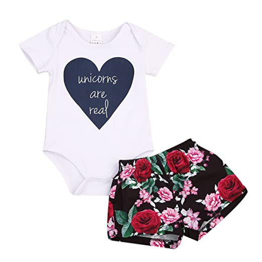 be0688aec0 Baby Girl Clothes Newborn Kids Romper Tops T-shirt+Floral Shorts Outfits  Bodysuit Jumpsuit