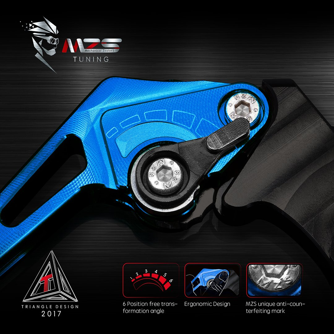 MZS Short Levers Brake Clutch CNC for Suzuki TL1000R SV1000 SV1000S BANDIT 650 1200 1250 GSF650 GSF650S GSF1200 GSF1250 GSF1250S GSX1250 DL1000 V-STROM GSX1400 GSX650F KATANA HAYABUSA GSXR1300 Blue