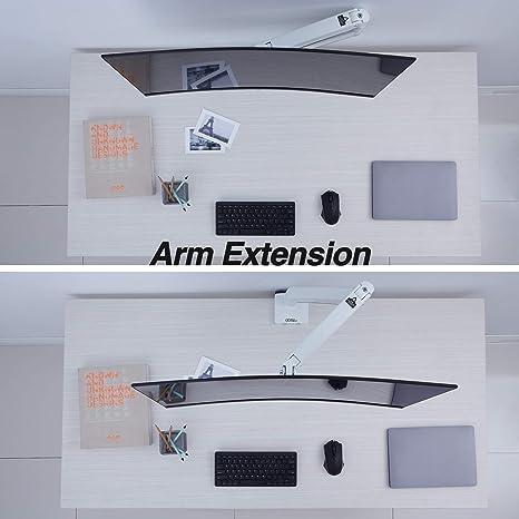 AVLT-Power - Soporte de escritorio para monitor de computadora con brazo ajustable de movimiento completo, puerto USB 3.0 de grado de laboratorio, para organizar la superficie de trabajo con un elevador ergonómico