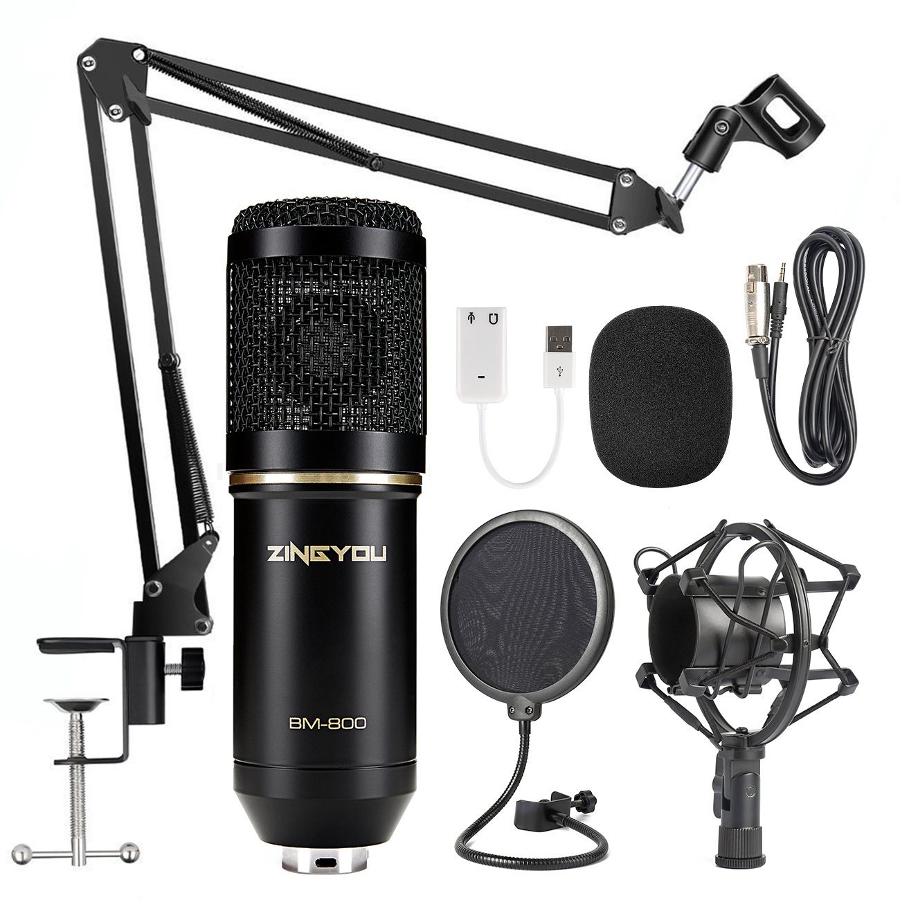 ZINGYOU Condenser Microphone Bundle, BM-800 Mic Set for Studio Recording & Brocasting (Microphone Kit (Black)) by ZINGYOU