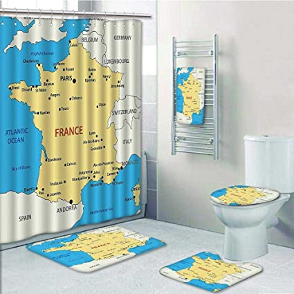 Lijiaohome 5 Piece Banded Shower Curtain Set RugContour Bath TowelMap Of France