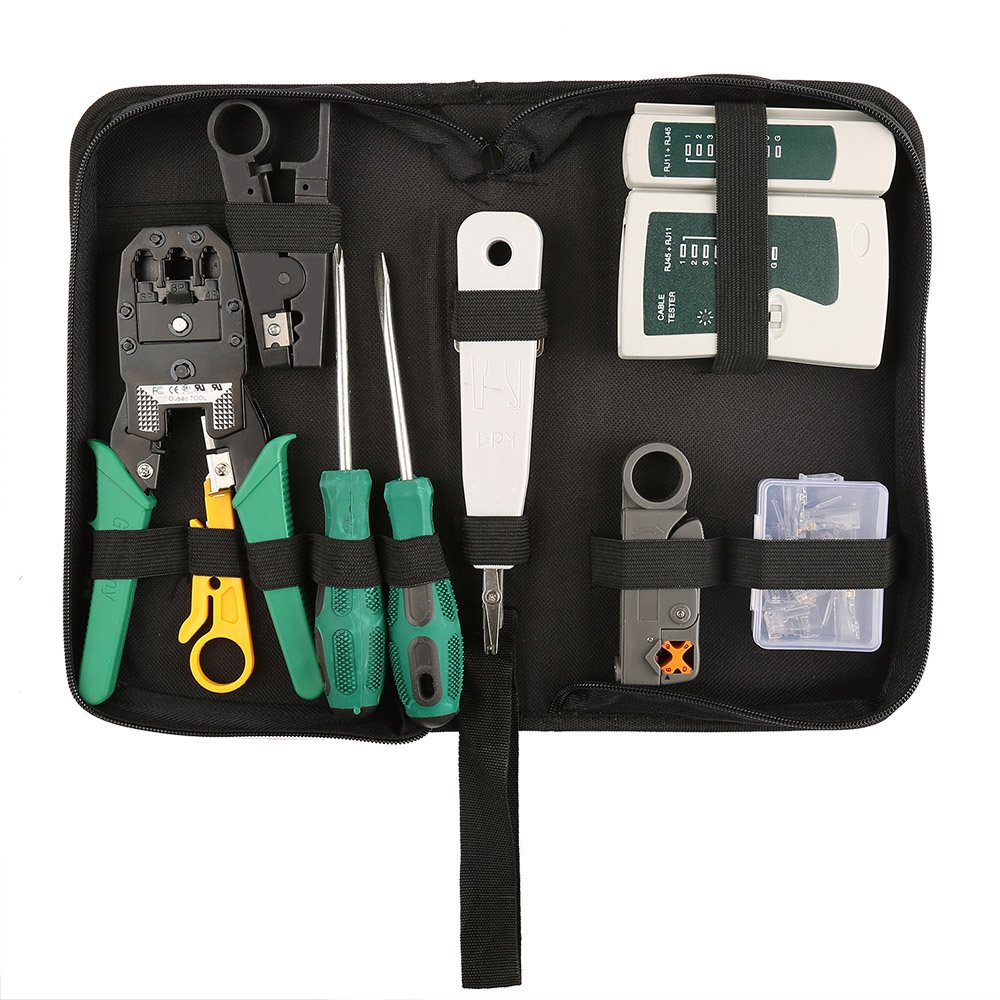 Network Tool Kits Professional- Net Computer Maintenance LAN Cable Tester 9 in 1 Repair Tools,8P8C RJ45 Connectors ,Cable Tester,Screwdriver ,Crimp Pliers ,stripping pliers Tool Set