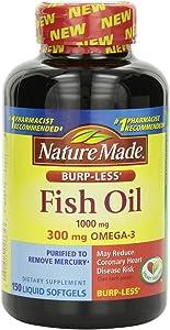 Nature Made Burp-less Fish Oil, 1000 Mg, 300 mg Omega-3, 150 Liquid Softgels, pack of 3
