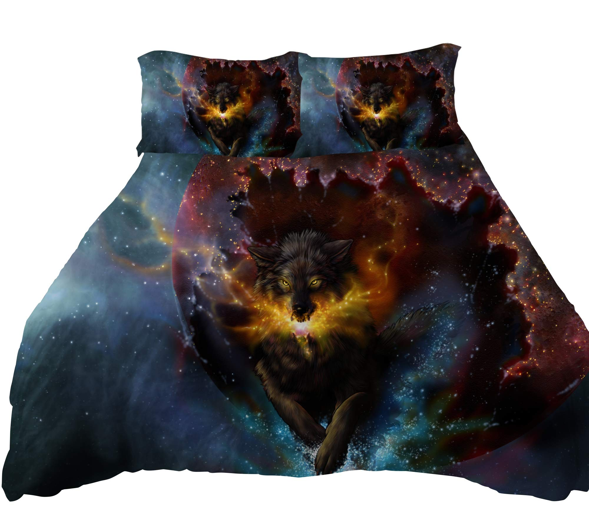 ANOLE 3 Pcs Soft Luxury Youth 100% Polyester Shell Fully Reversible 3-Piece Modern 3D Wolf Print Duvet Cover Set Twin Size Full Size Queen Size King Size Blue No Comforter … (Wolf-Blue, Full)