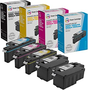 LD Compatible Toner Cartridge Replacement for Dell Color Laser 1250c 1350 1760 High Yield (2 Black, 1 Cyan, 1 Magenta, 1 Yellow, 5-Pack)