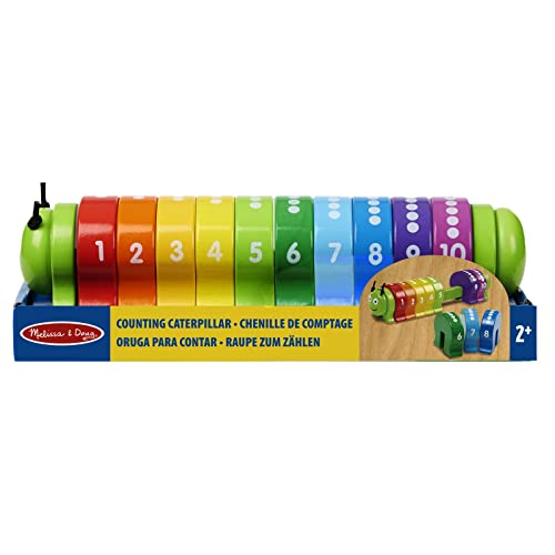 Melissa & Doug Counting Caterpillar - Classic Wooden Toy With 10 Colourful Numbered Segments