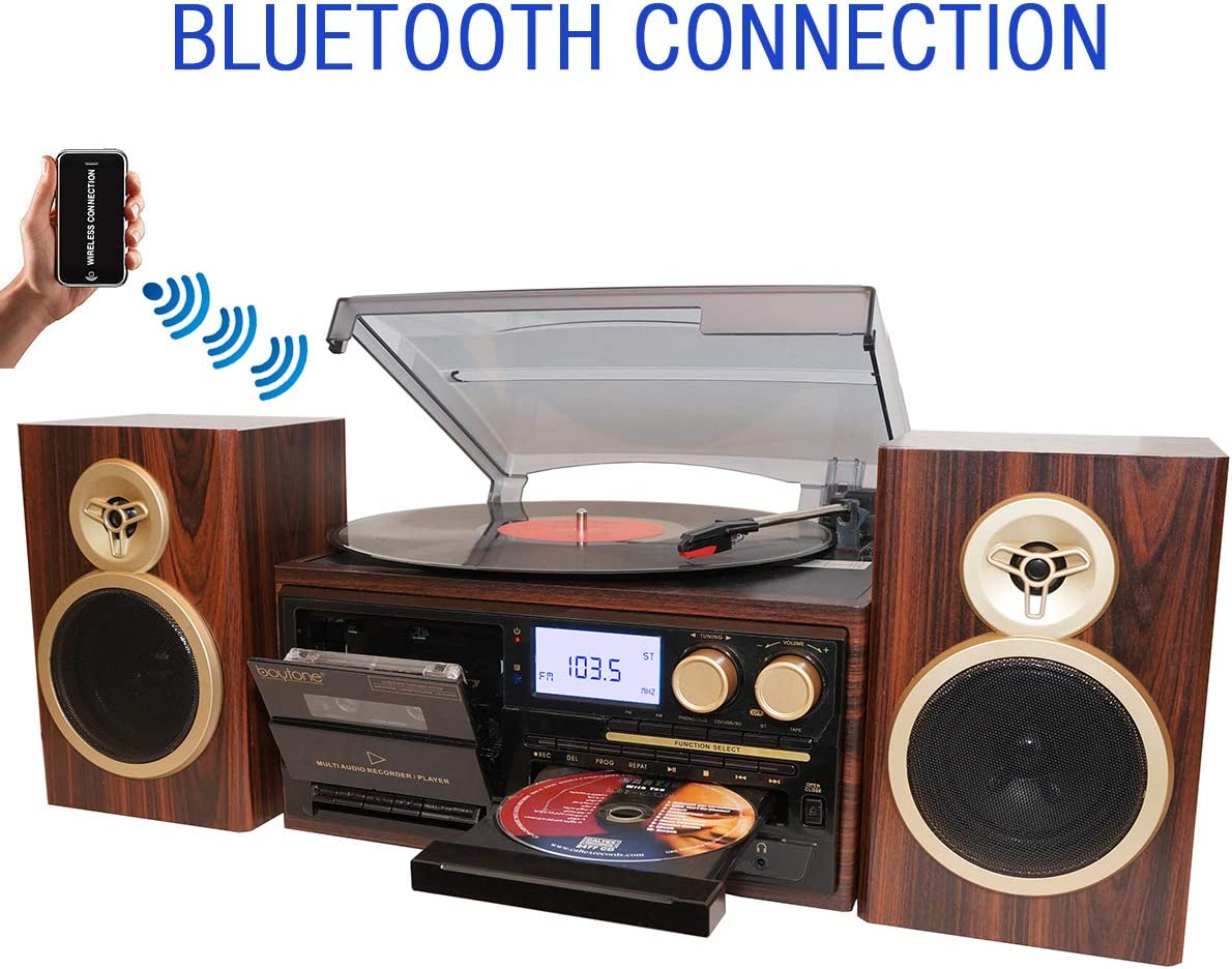 Boytone BT-28SPM, Bluetooth Classic Style Record Player Turntable with AM/FM Radio, CD / Cassette Player, 2 Separate Stereo Speakers, Record from Vinyl, Radio, and Cassette to MP3, SD Slot, USB, AUX.
