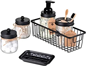 SheeChung Mason Jar Bathroom Accessories Set(6PCS) - Foaming Soap Dispenser,Toothbrush Holder,Qtip Holder,Apothecary Jars, Soap Dish,Metal Wire Storage Organizer - Rustic Farmhouse Decor (Black)