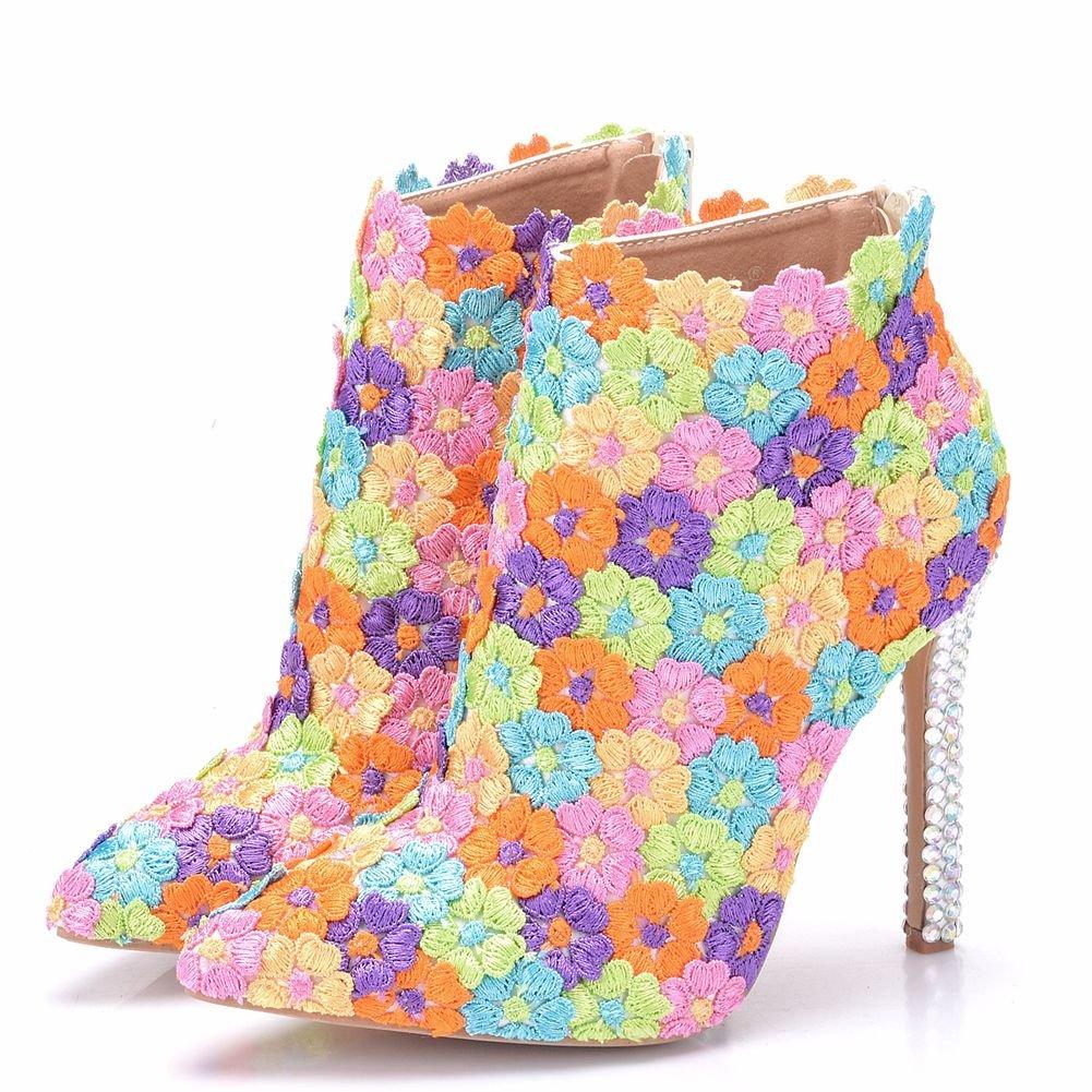 LEIT Damenschuhe Dünne Schuhe Spitze Stiefel Fein Ferse Martin Stiefel Stiefel Stiefel Strass Farbe Spitze 771ff8