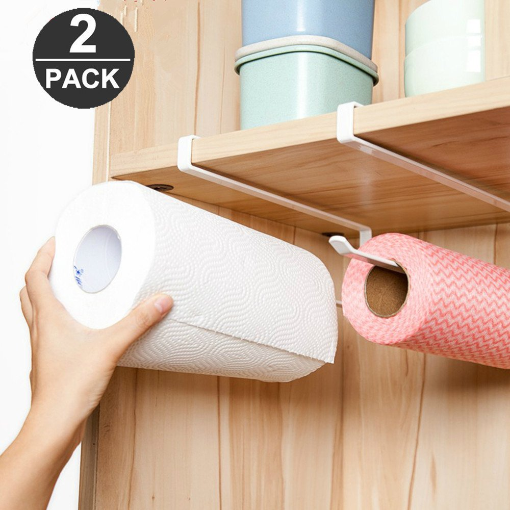 Pack of 2 Kitchen Paper Towel Roll Holder Dispenser Cabinet Cupboard Under Shelf Storage Napkins Rack Bear in mind