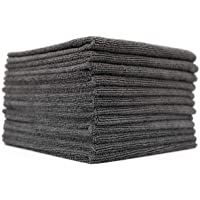 (12-Pack) 16 in. x 16 in. Commercial Grade All-Purpose Microfiber Highly Absorbent, LINT-Free, Streak-Free Cleaning Towels - THE RAG COMPANY (Grey)