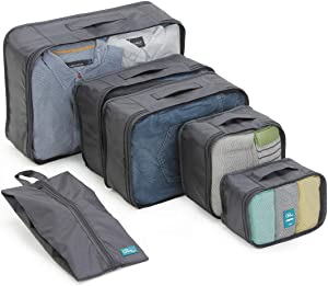 6 Set Packing Cubes-Large Capacity Travel Luggage Packing Organizers with Shoe Bag-Black