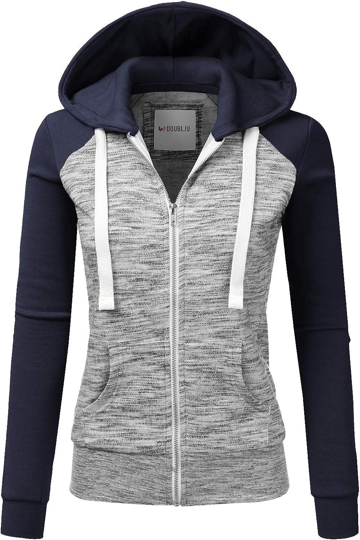 NINEXIS Womens Long Sleeve Zip Up Hoodie Top Color Block Basic Casual Hooded Sweatshirt