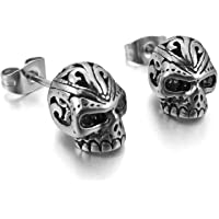MENDINO Mens Cubic Zirconia Stainless Steel Gothic Skull Stud Earrings 1 Pair 2pcs with Gift Bag