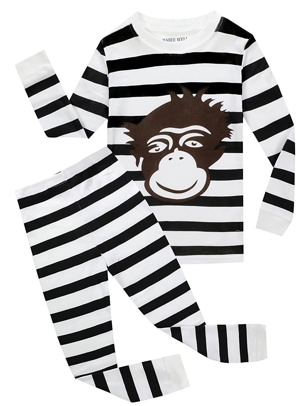 Little and Big Boys 100% Cotton Monkey Pajamas Childrens Clothes Set Sleepwear