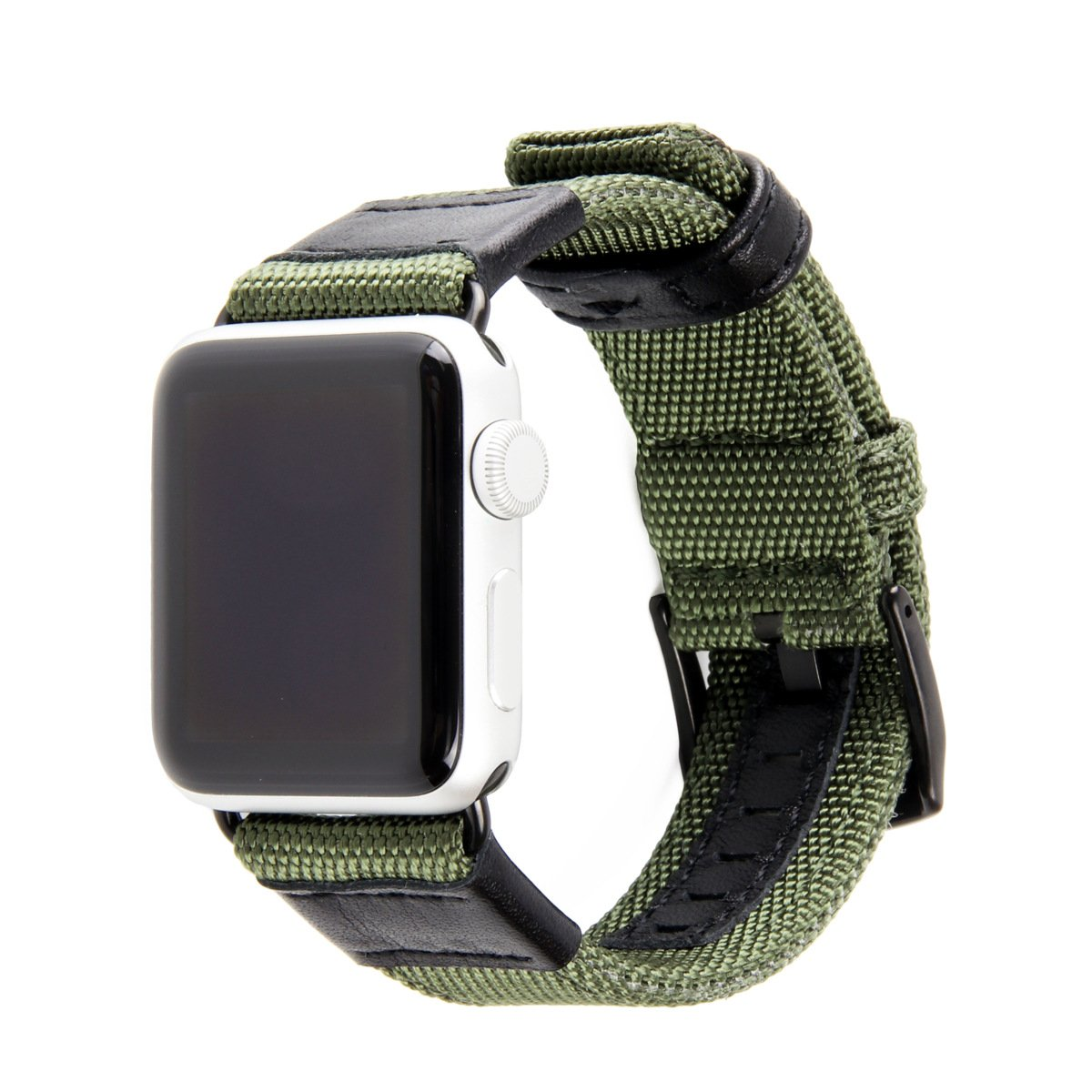 Herbstze for Apple Watch Band Woven Nylon iWatch Strap Replacement Bands with Stainless Metal Clasp for Apple Watch Series 3 Series 2 Series 1 Sport and Edition (Army Green, 42mm)