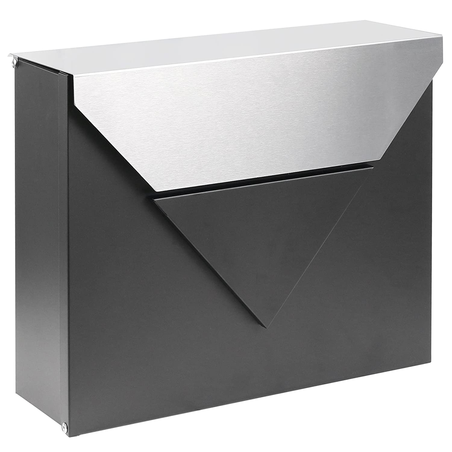Hartleys Wall Mounted Outdoor Mailbox - Black Body with Brushed Steel Lid