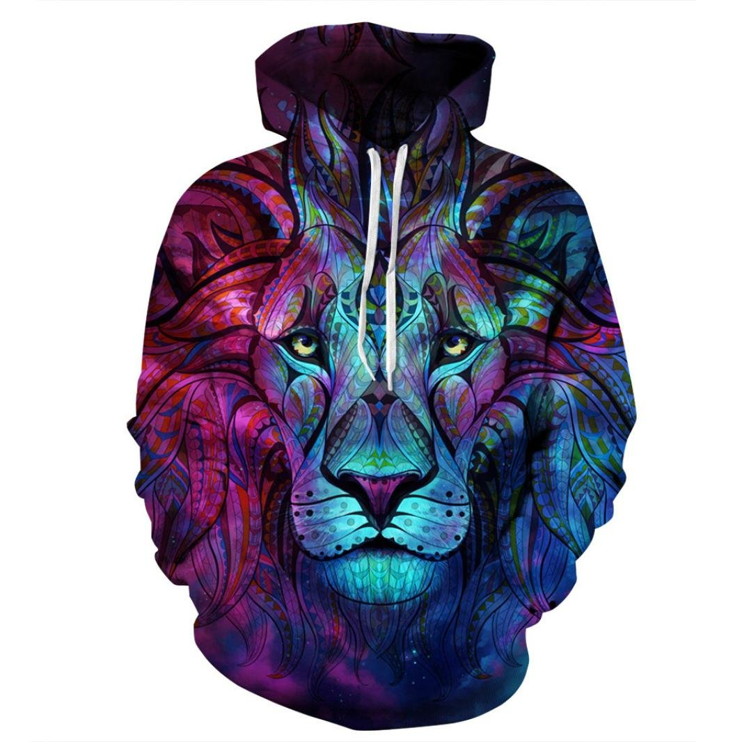 TOOPOOT 2018 Unisex Hooded Outwear,Winter Men Warm 3D Printed Lion Pullover Hoodie Hooded Sweatshirt Top Coat (Size:XXL, Blue)
