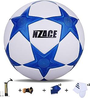 Soccer Balles de sports de plein air Practise Pro Ballon de foot Taille 5Performance de niveau supérieure Pompe incluse et filet de transport bleu NZACE