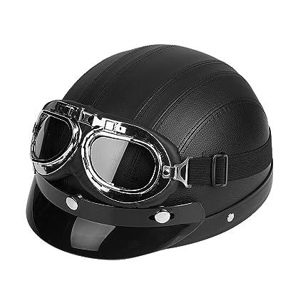 2f6c30a271f Casco motocicleta universales Gafas del casco y visera para abierta del cuero  sintético de la vespa