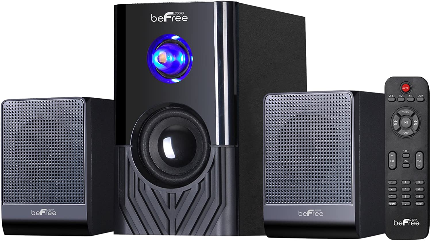 BEFREE SOUND 2.1 CHANNEL SURROUND SOUND BLUETOOTH SPEAKER SYSTEM USB//SD//FM RADIO