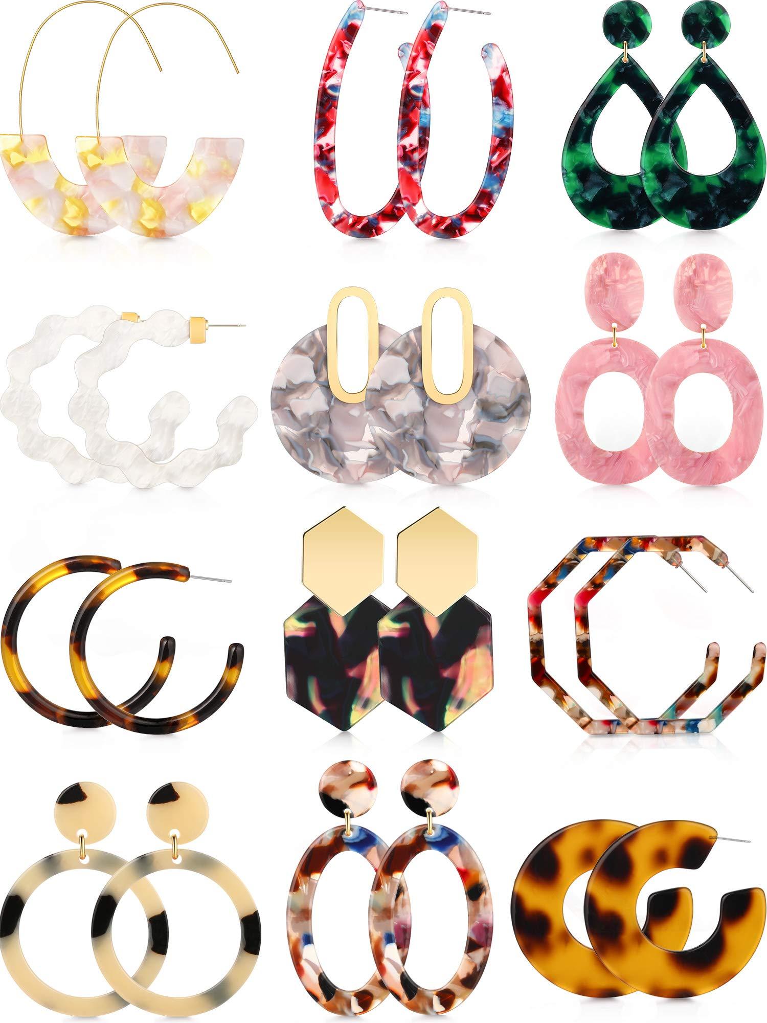 Totally 12 Pairs Acrylic Earrings Bohemian Statement Earrings Mottled Resin Geometric Drop Dangle Ear Jewelry for Women Girls by Hicarer