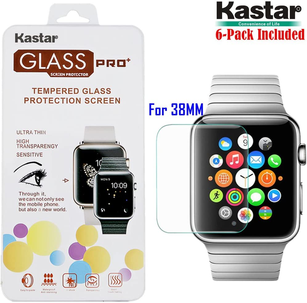 Premium Tempered Crystal Clear Glass Screen Protector for Apple iWatch 38MM-Supper Fast and from USA 6-Pack Kastar iWatch 38MM Screen Protector