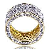 JINAO 18K Gold 11mm Eternity Wedding Engagement