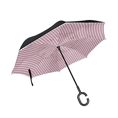 AHOMY Inverted Reverse Umbrella Valentine's Day Stripe Windproof for Car Rain Outdoor