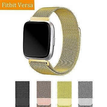 Wengerui Compatible con para Fitbit Versa Correa,Pulsera Milanese Loop de Acero Inoxidable Reemplazo de