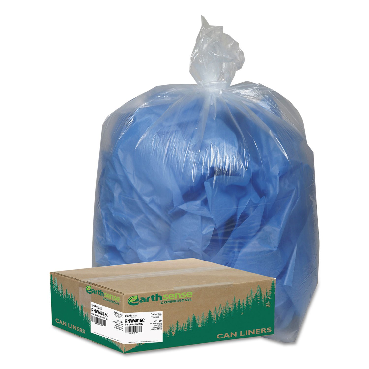 Webster WBIRNW4615C Coreless Heavy-Duty Can Liners, Low Density, Resin, 45 gal, 40'' x 46'', 1.50 mil (38 µm) Thickness, Clear (Pack of 100)