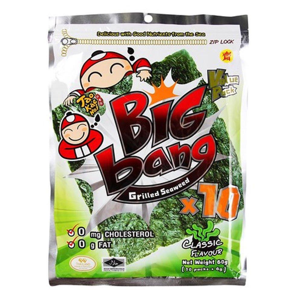 Taokaenoi Seaweed Snacks Most Famous Thai Nori Grilled Crispy Seaweed Sheets Classic Flavour, Big Bag, Value Pack (72g) 12 Packs