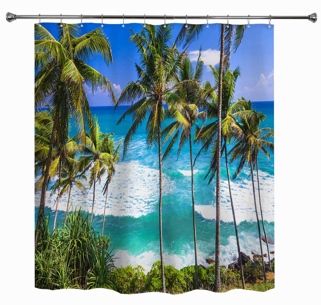 17 x 24 Kess InHouse Nick Nareshni Clear Water Beach Teal Coastal Memory Foam Bath Mat