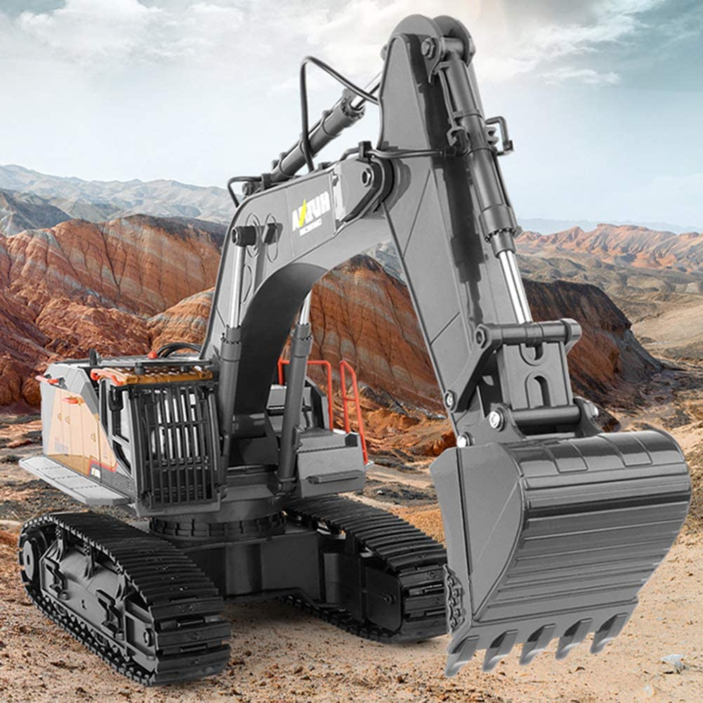 LIPETLI 22 Channel Remote Control Alloy Excavator Construction Vehicles Building Educational Toys Play Truck Mini Car Bulldozer Toy Ideal Educational