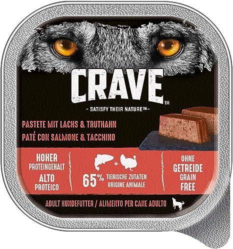 CRAVE Comida húmeda salmón y Pavo para Perros, sin Cereales, con Alto Contenido en proteínas, 10 x 300 g