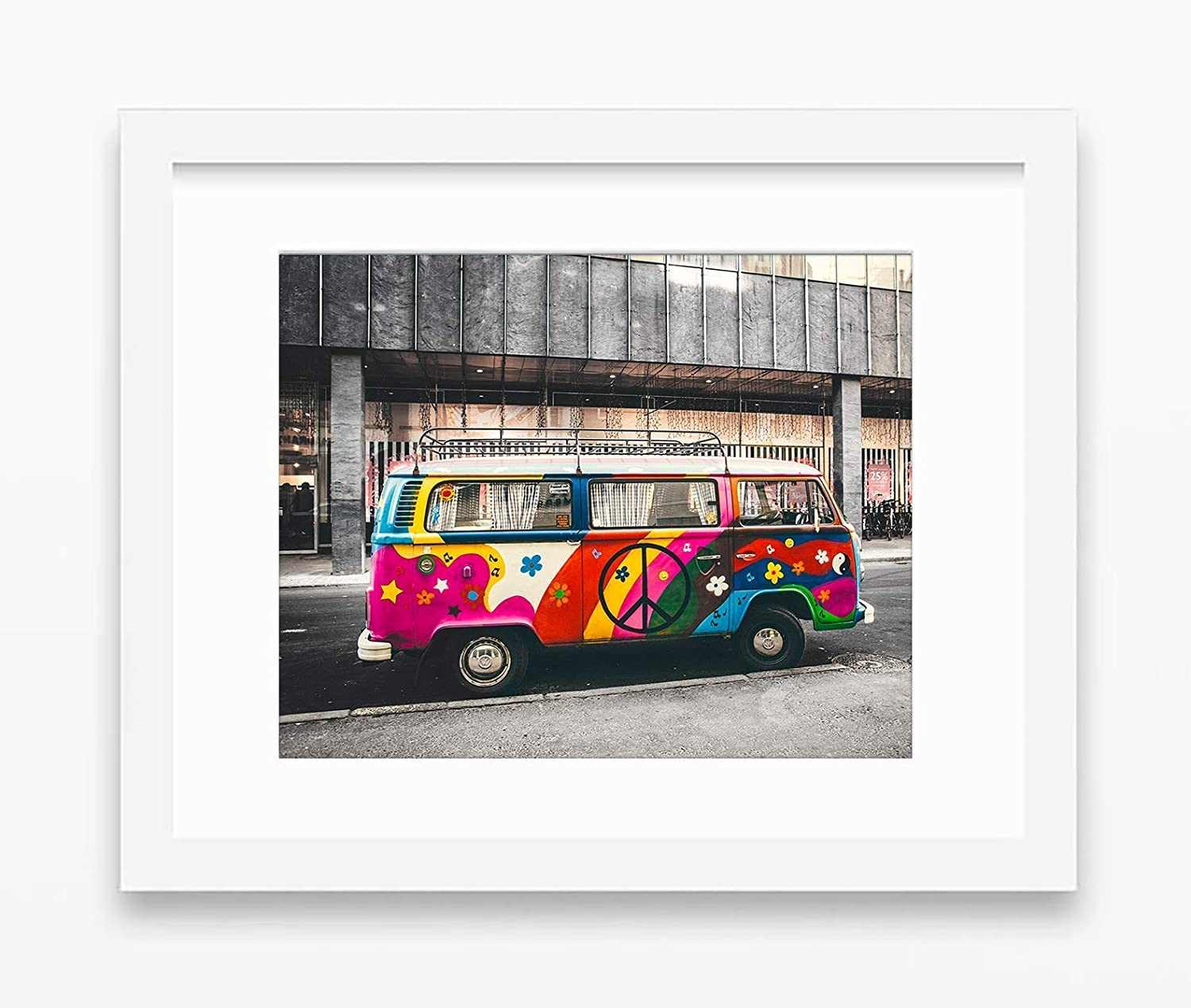 Unframed Volkswagen Vw Bus Van Rainbow Hippie Peace Photography Print All Sizes Colorful Home and Wall Decor