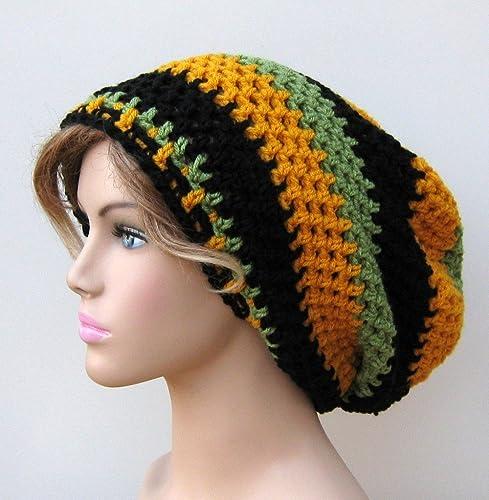 ceebf6ed49b Amazon.com  Handmade Jamaica Flag Inspired Slouchy Beanie Dread Tam Hippie  Boho Hat  Handmade