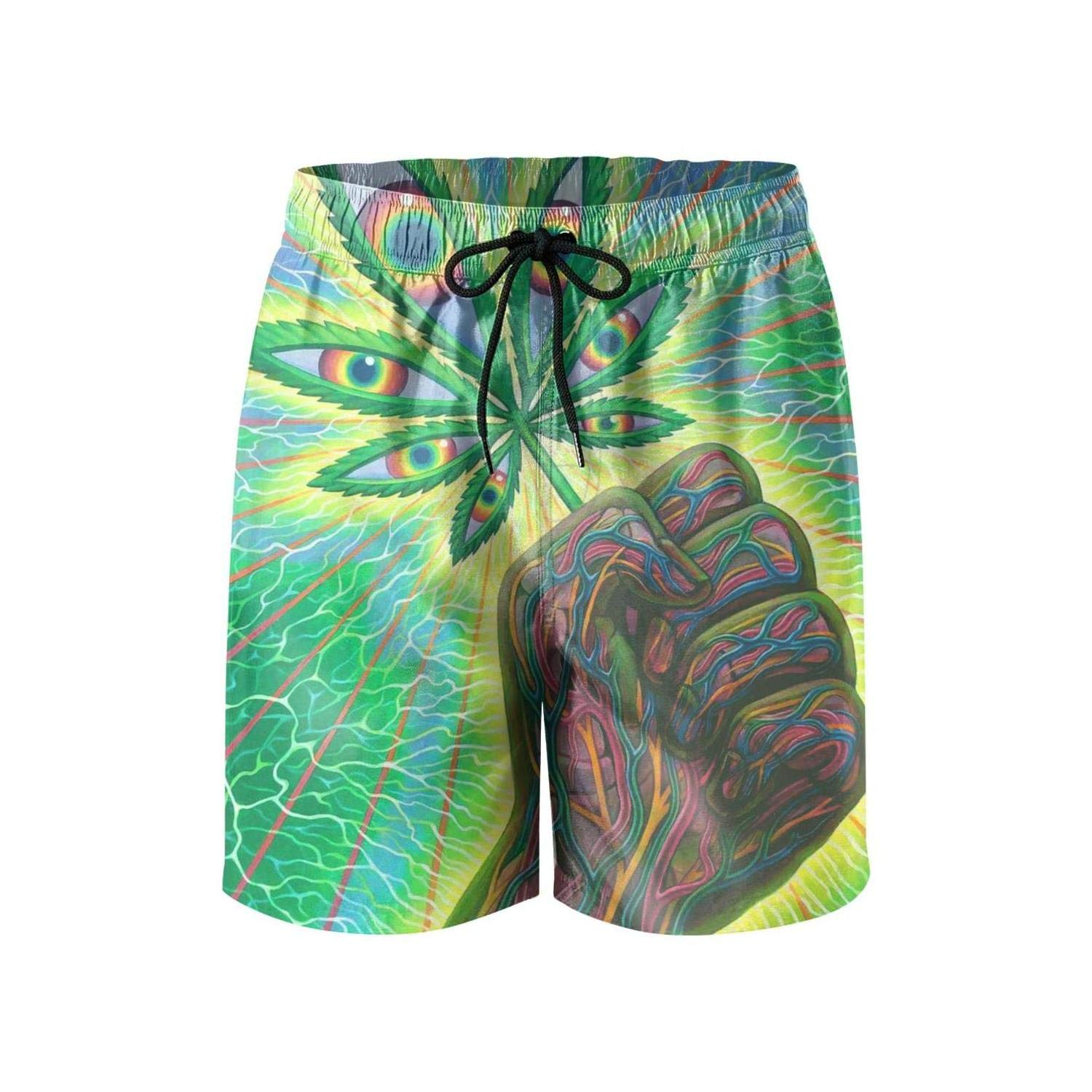 Cannabis Weed Hand Marijuana Beach Swim Mens Shorts Adjustable Microfiber