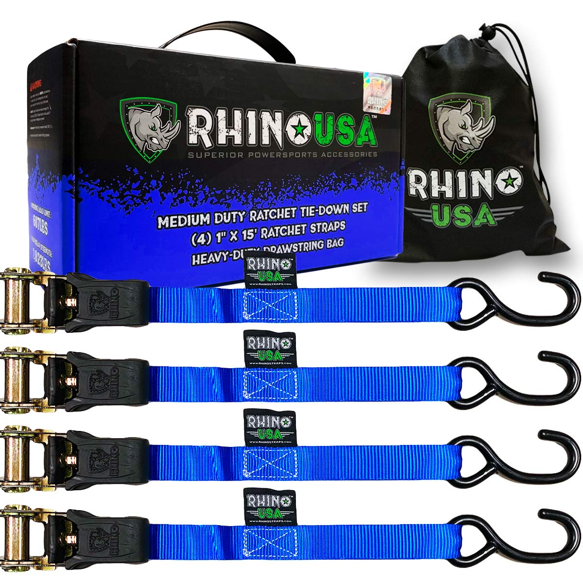 Includes Premium 1 x 15 Rachet Tie Downs with Padded Handles BLACK 4 Best for Moving Securing Cargo - 1,823lb Guaranteed Max Break Strength 4PK RHINO USA Ratchet Tie Down Straps