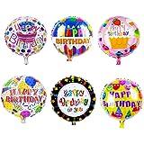 "Sharlity Happy Birthday Foil Mylar Helium Balloon, 18"" Round Foil Balloon, Pack of 12"