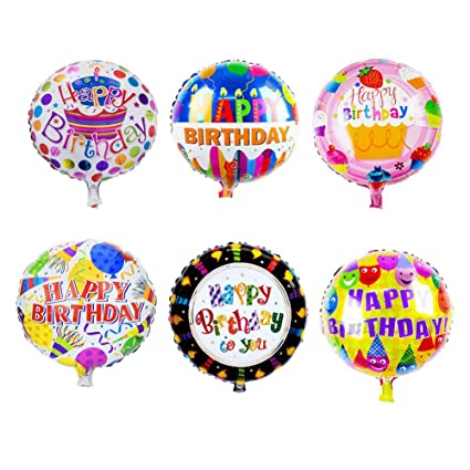 Amazon Sharlity Happy Birthday Foil Mylar Helium Balloon 18 Round Pack Of 12 Toys Games
