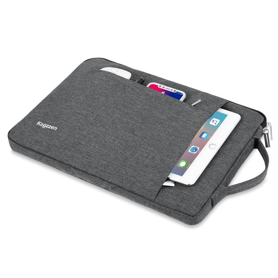 Kogzzen 13-13.5 Inch Laptop Sleeve Shockproof Lightweight Case Carrying Bag Compatible with MacBook Pro 13 inch/MacBook Air 13.3/ Dell XPS 13/ Surface Book 2 13.5/ Surface Laptop/iPad Pro 12.9 - Gray by Kogzzen (Image #3)