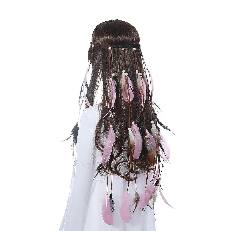 Amazon.com   Hippie Feather Headband Boho Headdress - AWAYTR Feather Crown  Festival Headband For Woman Indian Hair Accessories   Beauty c08e460ec6ce