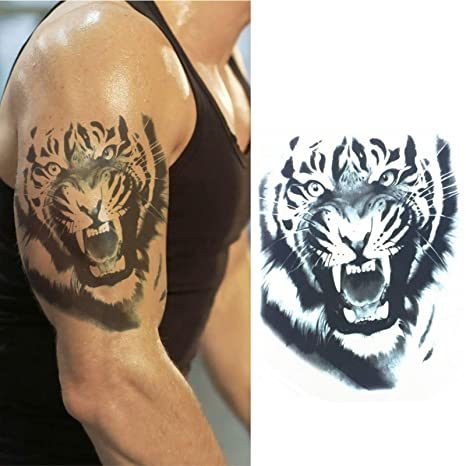 3d Temporary Tattoo Waterproof Sticker Beautiful Colorful Big Tiger Leopard Face Popular New Designs Size 21x15cm 725