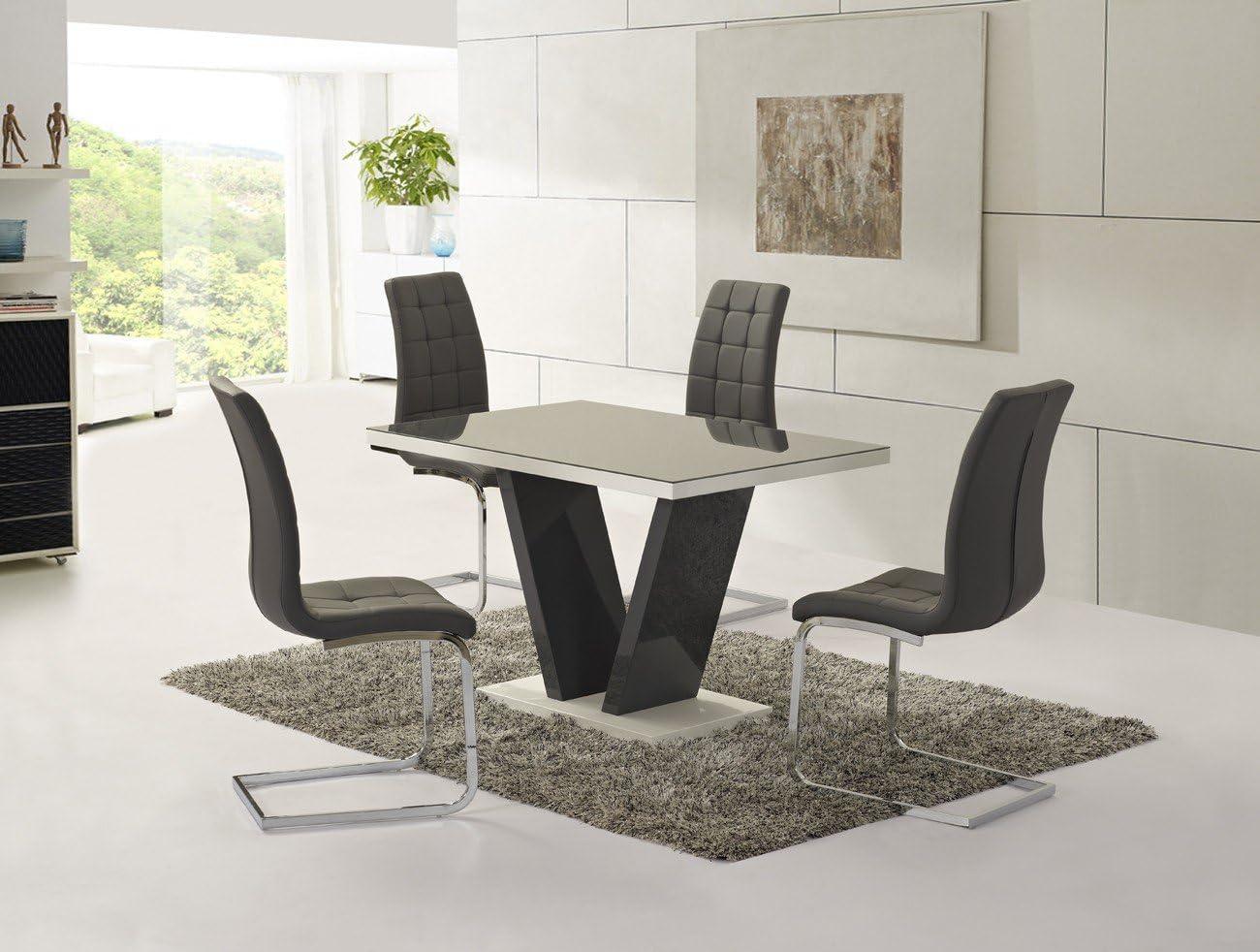 Comedor gris con alto acabado brillante Zara + 4 sillas para ...