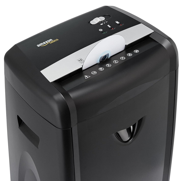 AmazonBasics - Trituradora de microcorte y alta seguridad para papel, CD y tarjetas de crédito (12 hojas, con cesta extraíble): Amazon.es: Oficina y ...