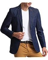 XQS Men's Fashion Jeans Denim Suit Sport Coat Pocket Trim