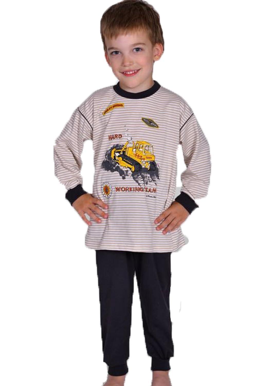 2 tlg. Kinderschlafanzug Pyjama Schlafanzug Radlader Kitt 100% Baumwolle Gr. 80, 86, 92, 98, 104, 116, Beige, 80 Mauz