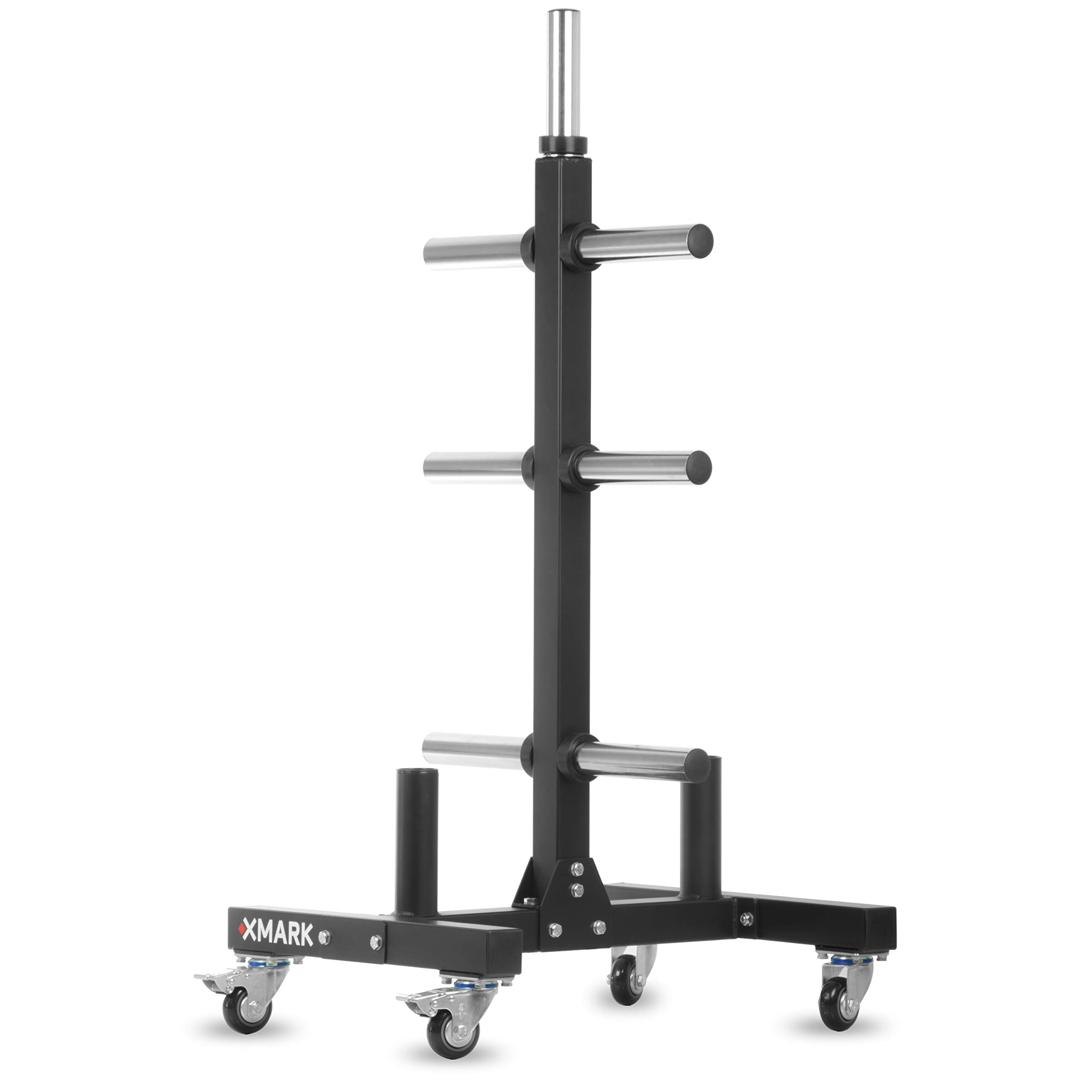 XMark Commercial Olympic Weight Plate Vertical Storage Tree, 750 lb Capacity, with Two Bar Holders and Transport Wheels by XMark